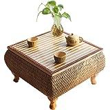 Tables Basse D'appoint en Bambou À Thé Zen Basses en Tatami De Rotin Japonais De Balcon Simple De Fenêtre Tissée À La Main Ba