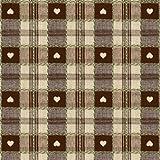 55cm (1,4m) redondo PVC/vinilo mantel–marrón chocolate y crema de corazones con agujero para sombrilla