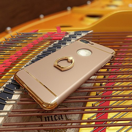iPhone 8 / 7 Coque avec Bague de NICA, Housse Protection Case Mince avec 360 Degrés Rotation Ring Stand, Etui Rigide Ultra-Fine Bumper Cover pour Telephone Portable Apple iPhone-7 / 8 - Gold Or Gold Or