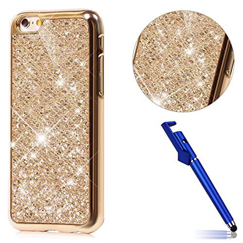 Custodia iphone 5S, Cover per iphone SE Silicone, iphone 5 Glitter Cover, MoreChioce Moda Glitter Sparkle Bling bling Brillante Morbido 3d Gel TPU Silicone Gomma Cover Case Custodia per iphone 5S, Ult A-Oro