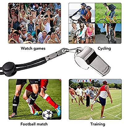 Ouway Metal Sports Whistle Breakway Neck Lanyard 2 Pack Football Referee Coach Umpire Stainless Steel 6