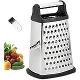 JUYILSU Râpe 4 côtés en acier inoxydable - Râpe de cuisine pour râper grossièrement et fine, pour fruits, légumes, carottes,
