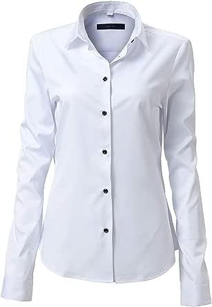 FLY HAWK Camicia Basic da Donna Manica Lunga - Camicetta Casual Blusa Chiusura Bottoni Slim Fit Formale Elegante in Fibra bambù - Camicia Shirt Ideale per Ufficio/Lavoro/Colloquio