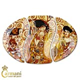 Carmani - Oval Glasplatte mit Gustav Klimt Gemälden 38.5x26.5cm