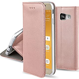 Moozy Hülle Flip Case für Samsung A5 2017, Rose Gold - Dünne magnetische Klapphülle Handyhülle mit Standfunktion