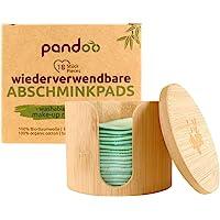 pandoo, dischetti di cotone biologico riutilizzabili e lavabili, dischetti struccanti in cotone biologico, 18 pezzi, con…
