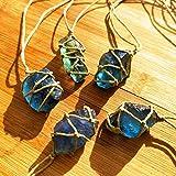 100% naturale cristallo di quarzo pietra ornamento blue-green fluorite trattamento pietre intagliate fluorite ornamento fluorite ciondolo con tessuti a mano corda intrecciata in colore casuale