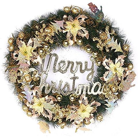 Hoobor House Corona de Navidad decorado Bolbitis appendiculata 50cm,Gold