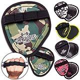 C.P.Sports Power Grips, Grip Pads, Griffpsds, Griffpolster Ideal für Bodybuilding & Kraftsport Griffpads, Powerpad mit Fingerschlaufe (Camo-Pink)