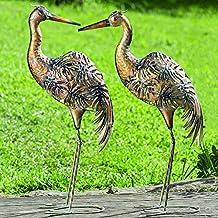 Juego de 2 Figuras Decoración Jardín en Metal Pájaros Grullas Cobre Altura Variados A 78 cm