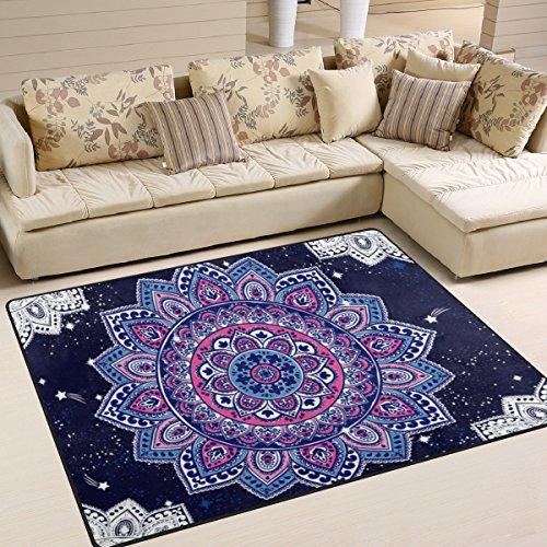 cpyang indischen Ethnische Mandala Floral Paisley Muster Rechteck Bereich Teppiche Foto Custom rutschfest Moderne Teppiche für Wohnzimmer Große Boden Matte für Schlafzimmer Esszimmer (5'7,6cm X 4'), Textil, einfarbig, 5'3