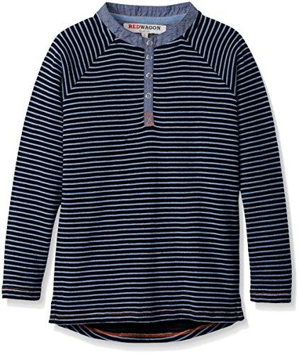 RED WAGON Jungen Langarmshirt Textured Stripe Longline Henley, Blau (Multi), 110 (Herstellergröße: 5 Jahre) (Multi Streifenmuster)