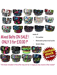 ON SALE Mixed Any 3 Belts 40mm Wide Printed Removable Buckle Belt UK Seller SALE OFFER