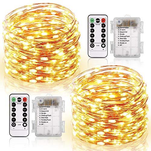 Guirlande Lumineuse 120 LED Fées Lumières 13M Guirlande en Fil Cuivre avec 8 Modes Batterie Case Étanche Télécommande Ficelles de Lumières pour DIY Maison Jardin Noël Anniversaire (Blanc Chaud)