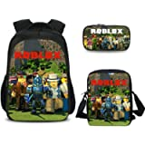 Roblox Backpack with Lunch Box & Pencil Case, Student Bookbag Shcool Backpack Laptop Backpack Travel Bag for Kids Boys…