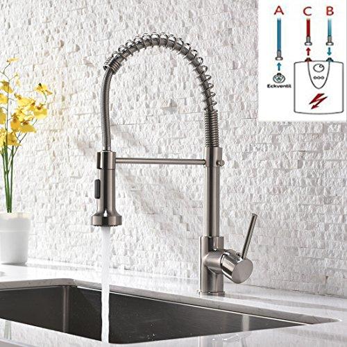 GD Niederdruck Wasserhahn Küche Edelstahl Mischbatterien Kueche Küchenarmatur mit Brause Ausziehbar