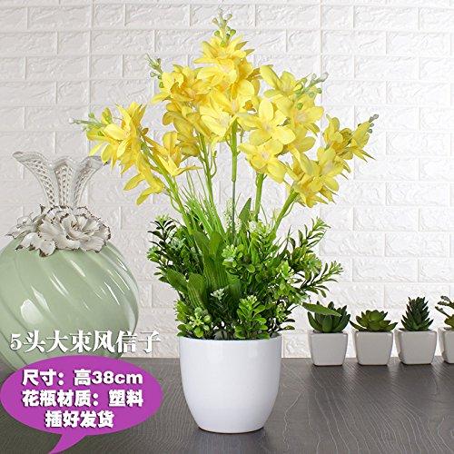 Xin Pang Simulation künstliche Blume Set Silk Blume Kunststoff Fake Blumendekoration Blumenschmuck Wohnzimmer Esstisch Blume Interieur Anzeige Blumenarrangements, Gelb 5 Hyazinthe