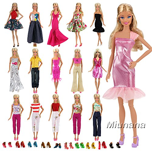 Miunana 5x Vestidos estilo al azar Ropas + 10 pares Zapatos Accesorios como Regalo Navidad para Barbie Muñeca - ESTILO ALEATORIO