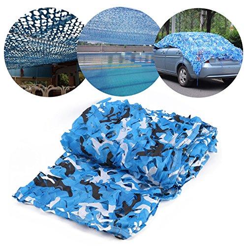 Tarnnetz Camouflage Netz Camonet Waldtarnung flecktarn Armee Sichtschutz Netz Sonnenschutz Tarnung für Freizeit Camping Bars Jagd - Camouflage Deko 3x5M Blau