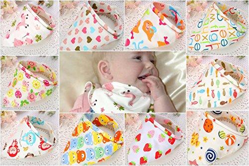 Bebedou - 10baberos con diseño de bandana para bebé, algodón, elegantes, para bebés y niños, toalla, diseño de animales del zoo rosa Pink Girls