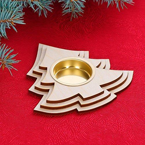 Diseño de portavelas de té–Decoración de madera para Navidad