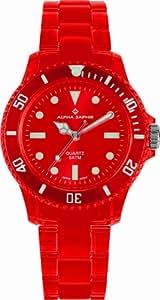 Alpha Saphir Unisex-Uhren Quarz Analog 369D, 39 mm rot