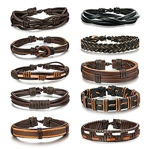 BE STEEL 10 STÜCKE Geflochtene Leder Armbänder für Herren Damen Punk Seil Armband Manschette Vintage Armbänder Wrap Set, Einstellbar