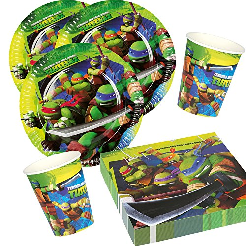 36-teiliges Party-Set Teenage Mutant Ninja Turtle - Teller Becher Servietten für 8 Kinder
