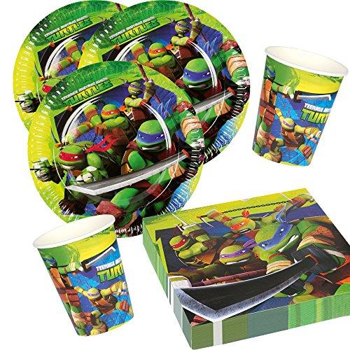 36-teiliges Party-Set Teenage Mutant Ninja Turtle - Teller Becher Servietten für 8 Kinder