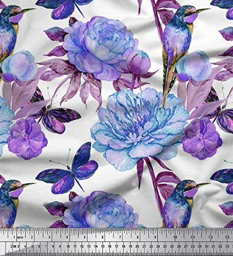 Soimoi Blau Kreppseide Stoff Kolibri, Wattebausch & Pfingstrose Blume Stoff drucken Meter 42 Zoll breit - Kolibri-stoff