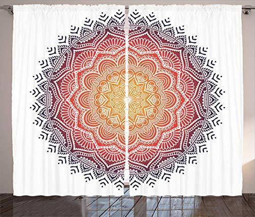Mandala Decor Curtains, Geometric National Kaleidoscope Motif with Gradient Tone Effects Petal Heart Forms, Living Room Bedroom Window Drapes 2 Panel Set,Multi 110x63 in - Kaleidoscope Eye Kit