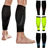 NV Compression Essential Race and Recover Calf Guards/Sleeves (PAIR) 20-30mmHg - For Sports Recovery, Shin Splints, Medical,