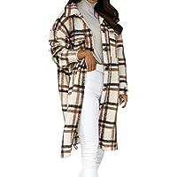 Damen Kariertes Hemd Knöpfen Langarm Mantel Hemdjacke Retro Style Karo Basic Jacke Boyfriend Look Jacke Mantel mit…