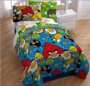 Angry Birds Ensemble De Literie Lit SIMPLE   4 En 1 Set (couette - drap-housse - drap d'oreiller)