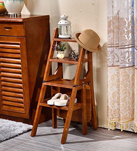 CAIJUN Klappbarer Leiterstuhl Volles Massivholz Montage Aufsteigen 4 Stufen Hocker Multifunktion Sessel, 90 cm Hoch (Farbe : Walnut Farbe, größe : 90cm)