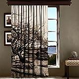 LaModaHome Luxus Fenster Vorhang für Wohnzimmer/Schlafzimmer/100% Polyester/Pflegeleicht/Größe (140x 260,1cm) Tree Schwarz und Weiß Town Bereich Verlassen Scary AST Natur Multi Varianten in Store.