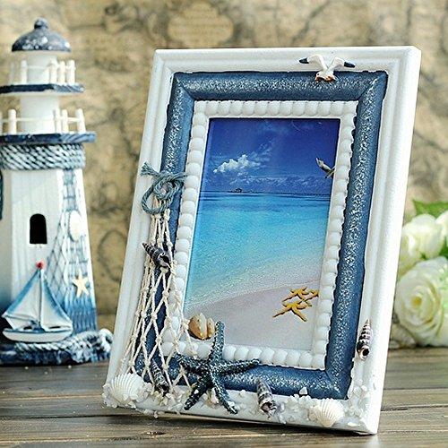 LDJC Fotorahmen, Fotorahmen Collage 4X6 Mediterranen Stil Holz Handwerk Fotorahmen Kreative Geschenke Einrichtungsgegenstände Anhänger