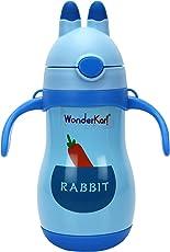 WonderKart 300 ML Beautiful Printed Stainless Steel Kids Sipper/Vacuum Water Bottle with Neck Strap - Blue