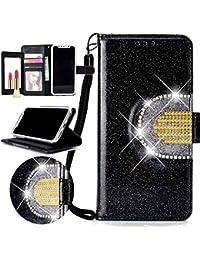 Nadoli Spiegel Glitzer Hülle für Huawei P20,Bling PU Ledertasche Trageschlaufe Wallet Case Brieftasche Hülle Handyhülle Flip Case Cover für Huawei P20,Schwarz