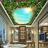 Meaosy Foto Personalizzata Wallpaper Murale Fantasy Forest Fairy Colomba Fiore Vite Soggiorno Camera Da Letto Soffitto Sfondo Carta Da Parati 3D Murale-350X250Cm