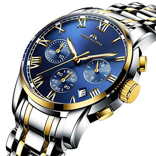 add6566d8772 Mens Stainless Steel Chronograph Watches Men Luxury Waterproof Luminous Date  Calendar Analogue Counts Watch Gents Sports Business Casual Dress Wrist  Watch ...