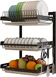 3 Tier Black Stainless Steel Dish Drying Rack Fruit Vegetable Storage Basket with Drainboard and Hanging Chopsticks Cage Knif