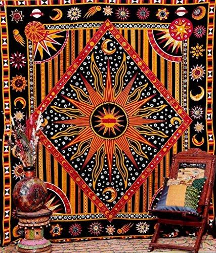 Craftzone, arazzo da parete tribale indiano, sole e luna, stile hippy, single (220x140 cms)
