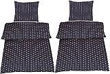 4-Teilige hochwertige Renforcé-Bettwäsche 2x 135x200 Bettbezug + 2x 80x80 Kissenbezug , 100% Baumwolle (Sterne dunkelblau)