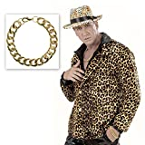 Massive Armkette Gold Goldenes Armband Rapper Goldkette Hip Hop Pimp Armschmuck Zuhälter Proll Goldschmuck Prolet Schlager Party Fasching Bad Taste Mottoparty Accessoire Karneval Kostüm Zubehör