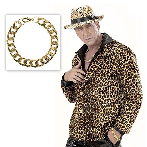 Party Kostüm Taste Bad (Massive Armkette gold Goldenes Armband Rapper Goldkette Hip Hop Pimp Armschmuck Zuhälter Proll Goldschmuck Prolet Schlager Party Fasching Bad Taste Mottoparty Accessoire Karneval Kostüm)