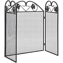 Festnight Biombo Diseño 3 Paneles Estilo Clásico Pantalla de Chimenea Negra