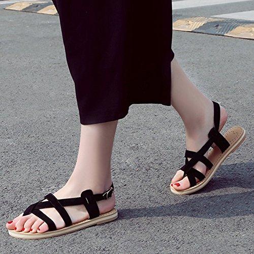 COOLCEPT Damen Mode Slip On Sandalen Slingback Flach Schuhe Schwarz