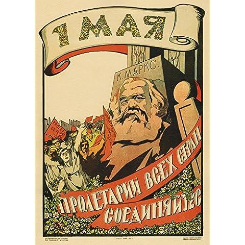 Vintage ruso Unión Soviética Propaganda el primero de trabajadores del mundo MAY., unite! c1921 250gsm A3 brillante Póster de cuadro