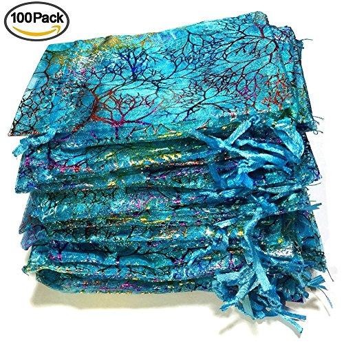 Giveet 100 Stück Coralline Blue Organza Geschenk-Taschen, Kordelzug Schmuck Beutel, Süßigkeiten Beutel Schokolade Beutel Party Wedding Favor Geschenktüte, 4,7 x 3,5 Zoll (Veranstalter Kordelzug)